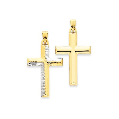 14K and Rhodium Reversible Cross Pendant- Measures 38x46.3mm