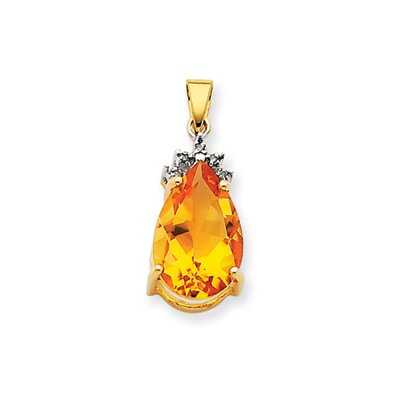 Jewelryweb 14k Citrine and Diamond Pendant