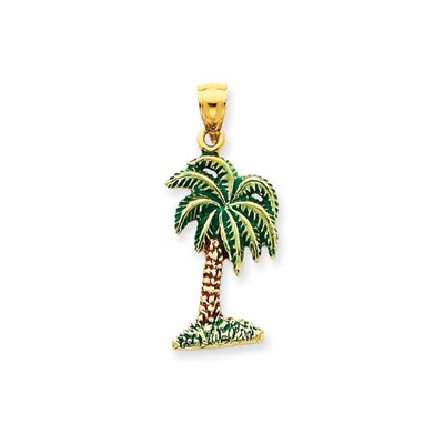 Jewelryweb 14k Enameled Palm Tree Pendant