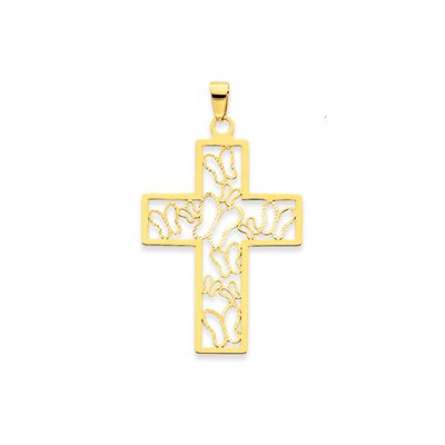 14k Reversible Cross with Butterflies Pendant