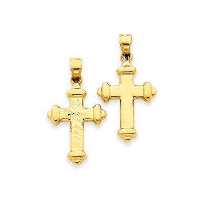 14k Reversible Diamond-Cut Cross Pendant- Measures 30.2x36.2mm
