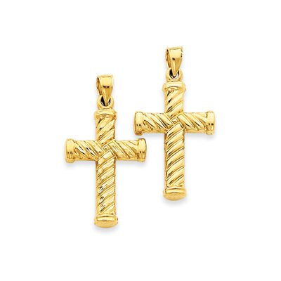 14k Reversible Diamond-Cut Cross Pendant- Measures 33.5x40.5mm