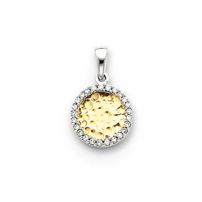 Jewelryweb 14k Two-tone Diamond Circle Pendant
