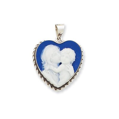 Jewelryweb 14k White Gold 20x20 Porcelain Heart Cameo Pendant