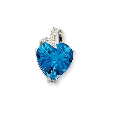 Jewelryweb 14K White Gold Blue Topaz and Diamond Heart Pendant