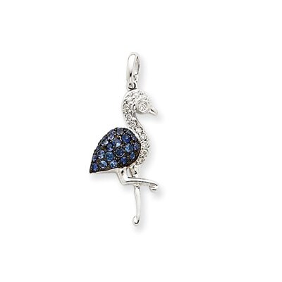 14k White Gold Diamond and Sapphire Flamingo Pendant