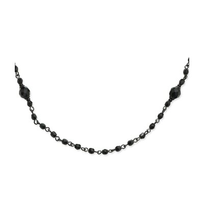 Jewelryweb Black-plated Faceted Jet Beaded Necklace