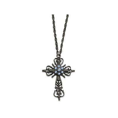 Black-plated Sapphire Crystal Cross 30 InchNecklace