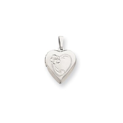Rhodium-plated Medium Heart Locket Necklace - 18 Inch