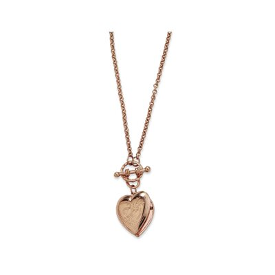 Rose-tone Heart Locket Decorative Toggle 18 InchNecklace