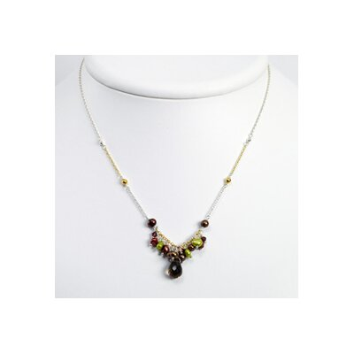 Silver Vermeil Cult. Pearls Smokey Quartz Necklace - 16 Inch- Lobster Claw