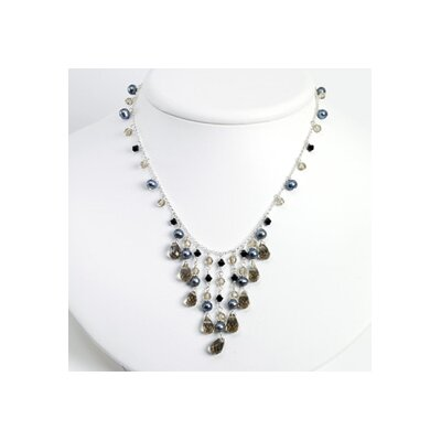 Jewelryweb Grey Cult. Pearl Smokey Jet Crystal Necklace - 16 Inch- Lobster Claw