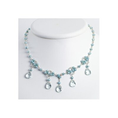 Jewelryweb Sterling Blue Topaz Lt Green Cult. Pearl Necklace - 16 Inch- Lobster Claw