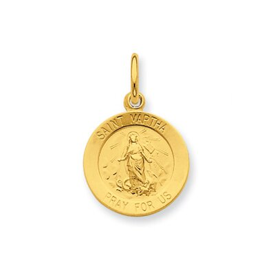 Jewelryweb Sterling Silver 24k Gold -plated Saint Martha Medal Pendant