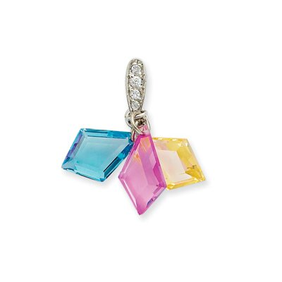 Jewelryweb Sterling Silver 3-color CZ PendantSet