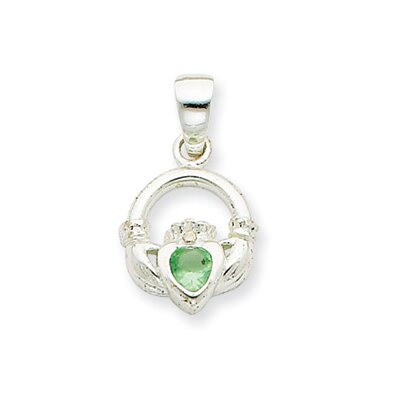 Jewelryweb Sterling Silver Clear and Green CZ Claddagh Pendant