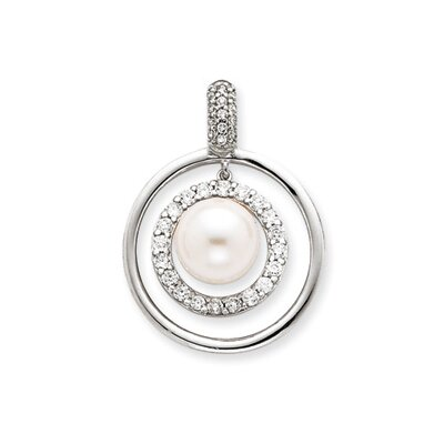 Sterling Silver CZ Circle Simulated Pearl Pendant