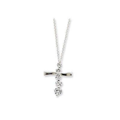 Jewelryweb Sterling Silver CZ Cross Journey Necklace - 18 Inch- Spring Ring