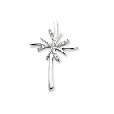 Jewelryweb Sterling Silver CZ Cross Pendant