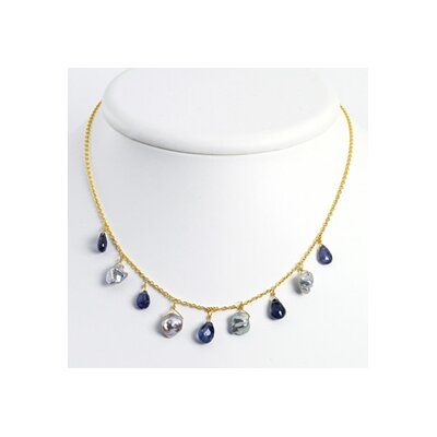 Sterling Vermeil Iolite Grey Cult. Pearl Necklace - 16 Inch- Lobster Claw