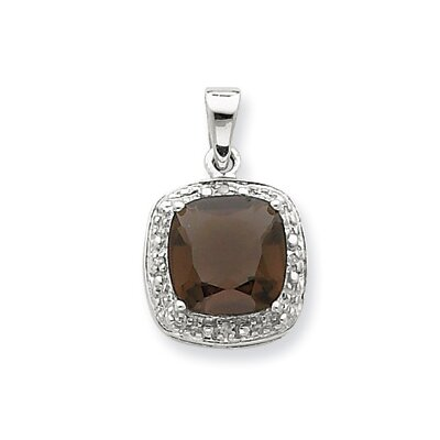Sterling Silver Rhodium Smokey Quartz and Diamond Pendant