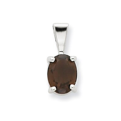 Jewelryweb Sterling Silver Rhodium Smokey Quartz Pendant