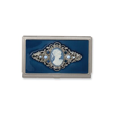 Jewelryweb Steel Blue Enameled and Cameo PendantBusiness Card Holder