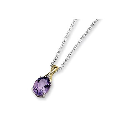 Jewelryweb Sterling Silver and 14K Amethyst and Diamond Necklace - 18 Inch