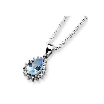 Sterling Silver and 14K Sky Blue Topaz and Diamond Necklace - 18 Inch