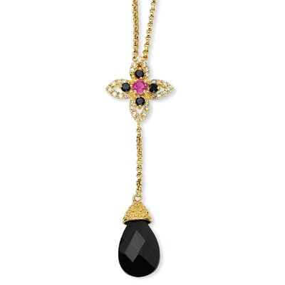 Jewelryweb Gold-plated Sterling Silver Black CZ Synth Ruby Y-drop Necklace - 18 Inch
