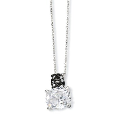 Jewelryweb Sterling Silver and Black-plated 100-facet CZ Necklace - 18 Inch