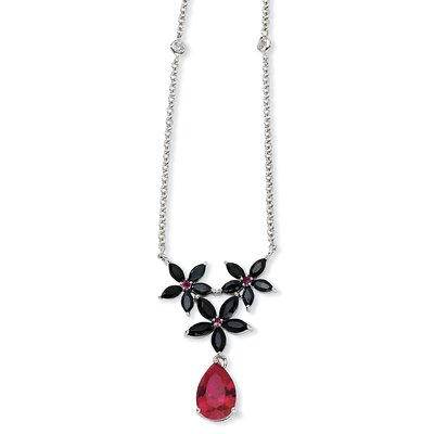 Jewelryweb Sterling Silver Synth Ruby Blk CZ Floral Necklace - 18 Inch