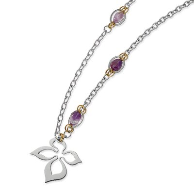 Jewelryweb Stainless Steel Gold IP Plated and Amethyst Necklace - 28 Inch