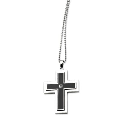 Stainless Steel Black Enamel Cross With CZ Pendant24 in. Necklace - 24 Inch