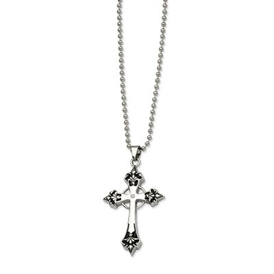 Stainless Steel Black Enamel and Diamond Cross Pendant24 in. Necklace - 24 Inch