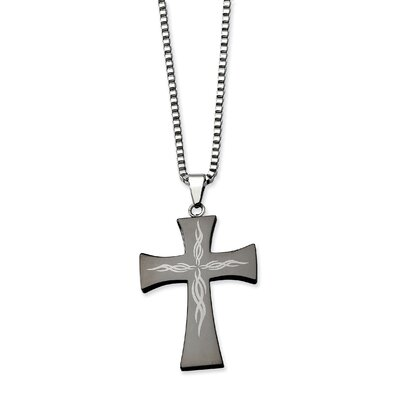 Stainless Steel Fancy Scroll Black-plated Cross PendantNecklace - 26 Inch