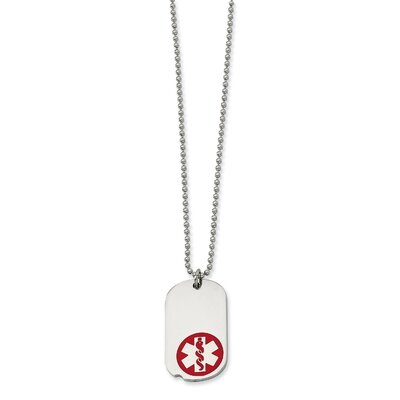 Stainless Steel Red Enamel Small Dog Tag Medical PendantNecklace - 22 Inch