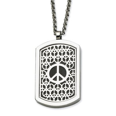 Jewelryweb Stainless Steel Peace Symbol and Fancy Reversable Dog Tag 22 in Necklace - 22 Inch