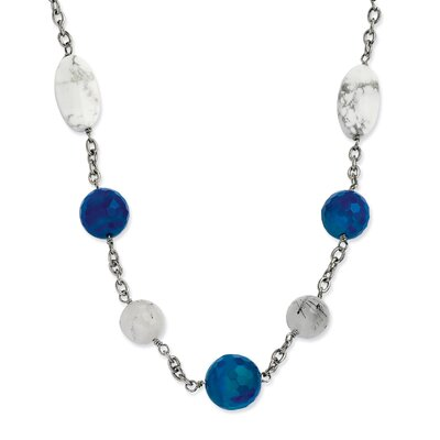 Stainless Steel Blue Jade Green Agate and Howlite 26 With 2inch ext. Necklace - 26 ...