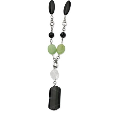 Stainless Steel Black Agate and Quartz 26 With 1.5inch ext. Necklace - 26 Inch