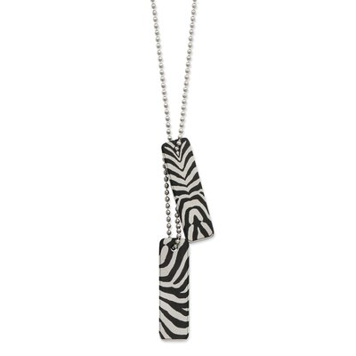 Jewelryweb Stainless Steel Zebra Necklace - 24 Inch