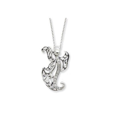 Jewelryweb Sterling Silver Antiqued CZ Angel of Optimism 18inch Necklace
