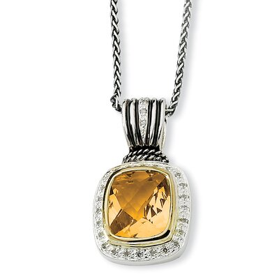 Jewelryweb Sterling Silver With 14k 8.30Citrine and 1/5ct. Diamond 18inch Necklace