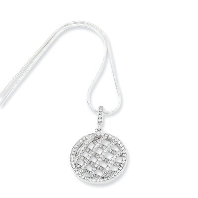 Jewelryweb Sterling Silver and CZ Polished Fancy Round Necklace - 18 Inch