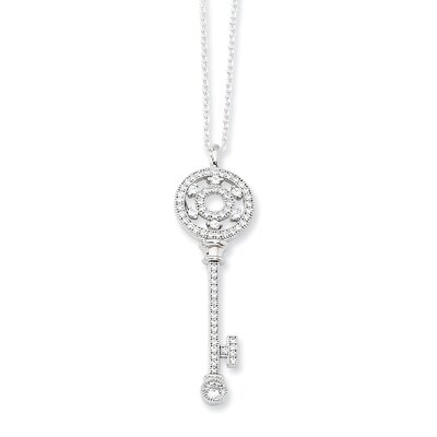 Jewelryweb Sterling Silver and CZ Polished Key Necklace - 18 Inch