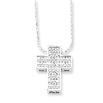 Jewelryweb Sterling Silver and CZ Polished Cross Pendant