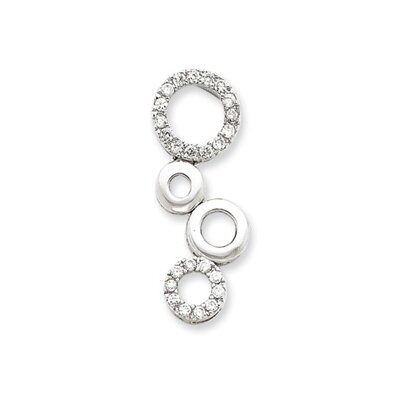 Jewelryweb Sterling Silver CZ Circle Chain Slide