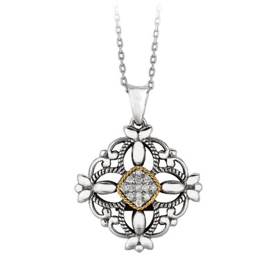 Sterling Silver 14k Gold Fancy PendantWith Diamond - 18 Inch