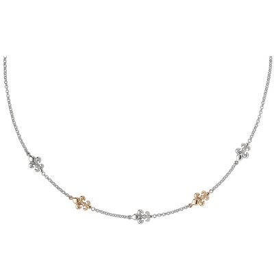 Jewelryweb Sterling Silver 14k Gold Fleur De Lis Necklace - 18 Inch