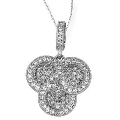 Jewelryweb Sterling Silver Rhodium Plated CZ Necklace - 18 Inch